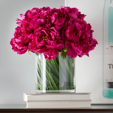 House-of-Hampton-Magenta-Peony-Bouquet-in-Acrylic-Water-Glass-Vase